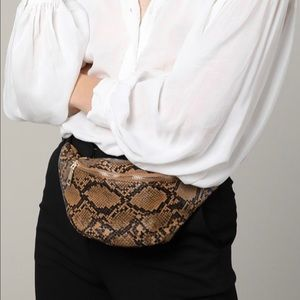 Snakeskin Print Faux Leather Fanny Pack